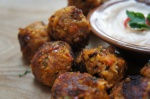 Chilli, Carrot and Chickpea Fritters with Chilli Yoghurt Dip