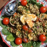 Maftoul and Lentil Salad with Spinach and Grilled Halloumi