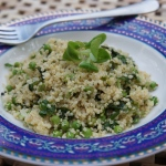 Quinoa and Minted Pea Salad with Lamb's Lettuce