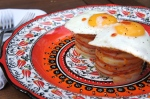 Chorizo and Potato Stacks with Sunny Side Up Tabasco Eggs