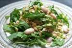 Mariella's Garlic Farro and Rocket Salad with Borlotti Beans