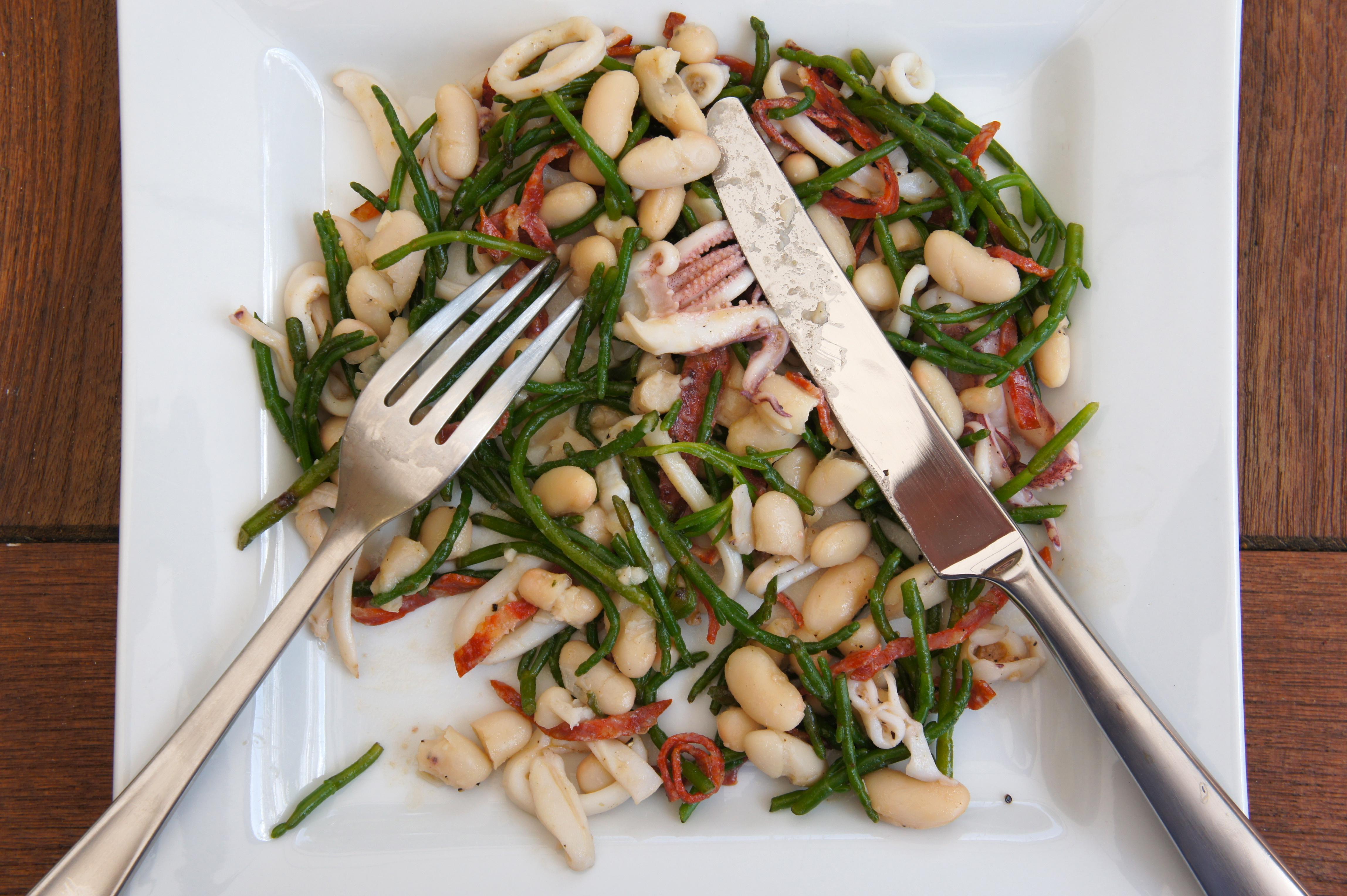 Samphire and White Bean Salad with Squid and Chorizo