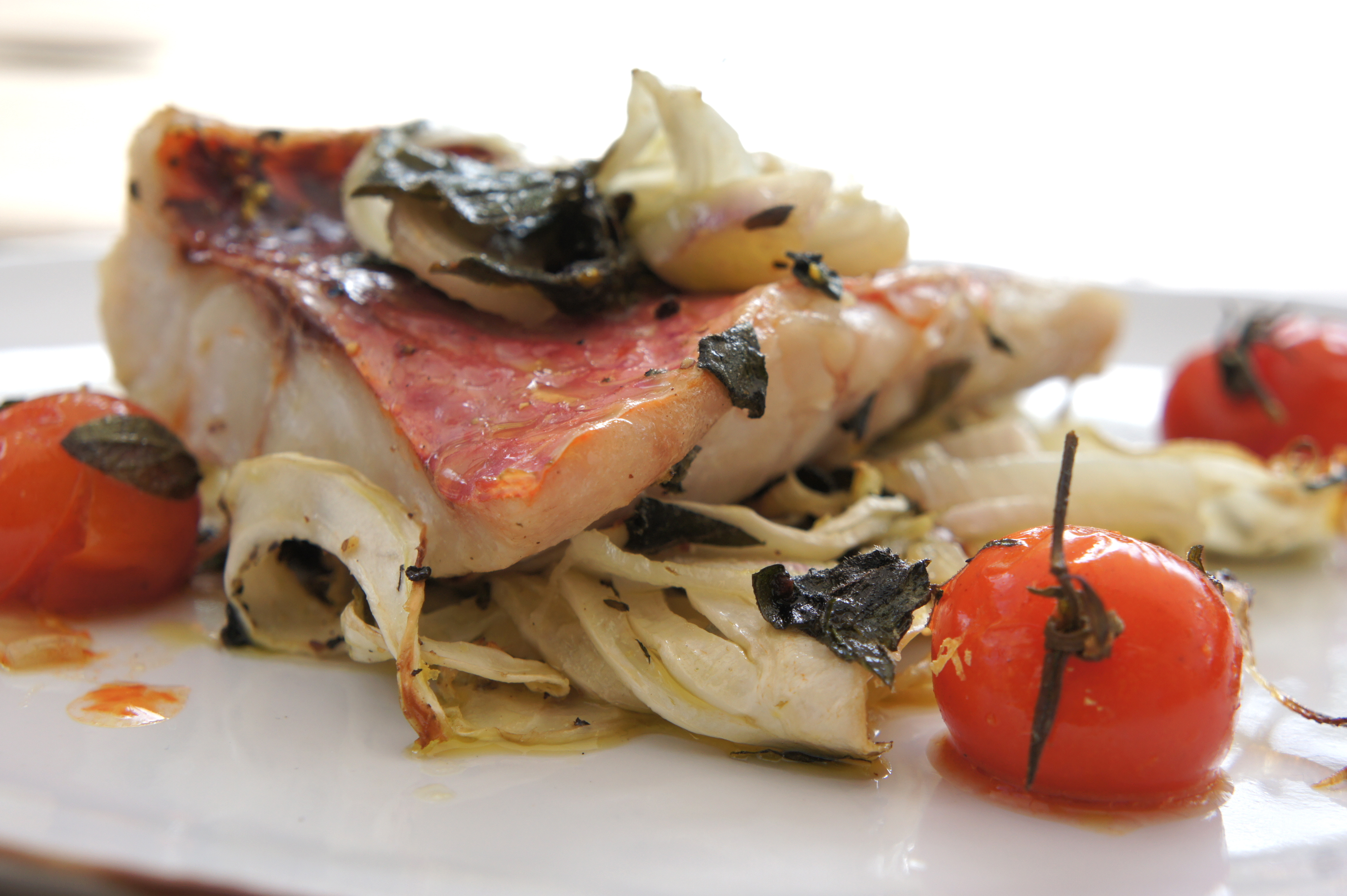Oven roasted red mullet with fennel indulge devour for Mullet fish recipe